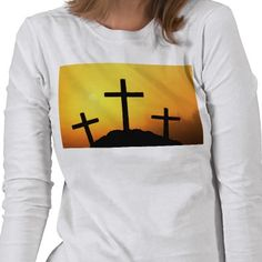 Calvary cross scene shown on a long sleeved ladies shirt. Perfect for Easter. Other styles and images available.