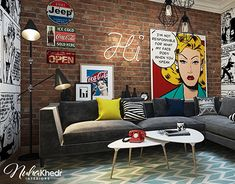Bedroom Design With Pop Art Decoration For Woman Living Room Art, Living Room Interior, Living Room Designs, Interior Livingroom, Living Area, Pop Art Bedroom, Pop Art Decor, Pop Art Design, Design Desk