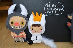 'Let the wild rumpus start!' Prop for the book 'Where the wild things are', Magnetic blackboard with hand stitched magnetic felt monsters.
