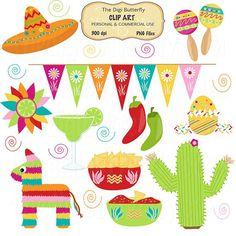 Clip Art Fiesta Borders | Ole Fiesta Clip Art Set Cinco De Mayo by thedigibutterfly, $5.00 ...