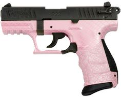 "Someday!   Walther P22Q Semi-Auto Pistol QAP22505, 22 Long Rifle, 3.4"", Pink Carbon Fiber Grip, Blue Finish, 10 Rd"