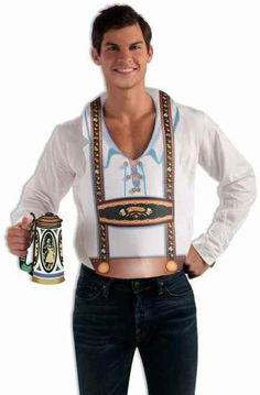Fun Male Oktoberfest Vest - Don't forget your beer stein when you head off to Oktoberfest! This fun vest for him makes a really fast option to get into the Oktoberfest mood! The poly-foam vest slips over the head and has the look of lederhosen without going all out! Perfect for parties, Halloween and wherever you find yourself needing the touch of Oktoberfest!  #YYC #Calgary #costume #Lederhosen #Oktoberfest