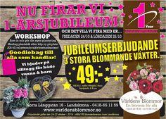 Blomsterbutik Världens Blommor FIRAR 1 ÅRS JUBILEUM Fredag 24:e och Lördag 25:e Oktober 2014