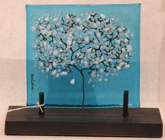 Fused glass tree stands on base, pretty with a light behind it or in a window!