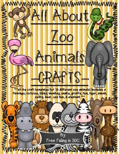 """All About Zoo Animals-CRAFTS (13 different zoo animal crafts) from Free Falling in SDC on TeachersNotebook.com -  (67 pages)  - Templates that are ready to print for all 13 zoo animals that are featured in my huge bundled """"All About Zoo Animals"""" pack. These are so cute and the kiddos have such a fun time cutting out and labeling all the different parts of the animal as t"""