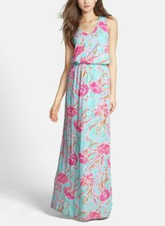 Cute Lilly Pulitzer maxi dress for spring! Such a sweet jellyfish print.