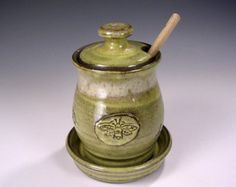 Sugar Jar Stoneware Clay Dipper Honey Jars Glaze Ble Bees