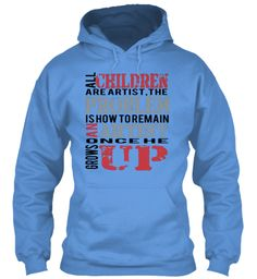 Children All Are Artist,The  Problem  Is How To Remain  Artist   An  Up Once He Grows Carolina Blue Sweater Lengan Panjang Front