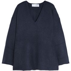 Chloé Iconic oversized cashmere sweater (21.245 ARS) ❤ liked on Polyvore featuring tops, sweaters, navy, navy cashmere sweater, deep v neck cashmere sweater, navy sweater, navy oversized sweater and navy blue oversized sweater