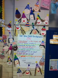 New Years Resolution board with homemade faces and hats!