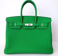authentic hermes birkin bag bamboo green togo 35cm ! amazing! rare