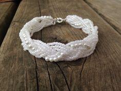 White+pearl+braided+cuff+white+pearl+bracelet+by+Emmiemaeboutique,+$13.00