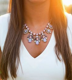 Flaunt a statement necklace to add a pop of fun to a simple v-neckline: http://www.bhg.com/beauty-fashion/fashion/statement-necklaces/?socsrc=bhgpin032815wearwithvnecks&page=2