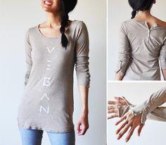 Vegan Clothing Mocha button long sleeve  Size M  by lamotif01, $32.00