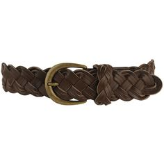 Leatherette Braided Belt ($5) ❤ liked on Polyvore featuring accessories, belts, brown, women, thick belt, braided belt, wide belt, brown belt and wide braided belt