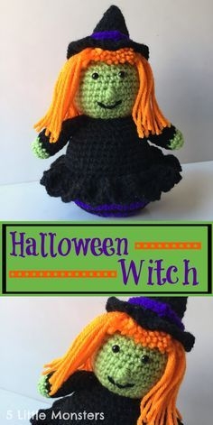 5 Little Monsters: Crocheted Halloween Witch