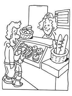 Kleurplaat Broodjeswinkel - stokbrood Rainy Day Activities, Kids Learning Activities, English Worksheets For Kids, English Idioms, School Themes, Food Themes, Print Pictures, Coloring Pages For Kids, Embroidery Applique