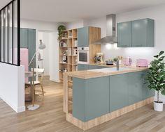 Craquez pour les douces couleurs de la cuisine TEMOE, esprit chic et boisé pour votre intérieur RDV sur BUT.fr
