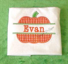 Applique Split Pumpkin Personalized T-Shirt or Onesie, Halloween Shirt, Fall Shirt on Etsy, $18.99
