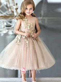 77b7fd5375a Nude Champagne Tulle Flower Girl Dress with Gold Floral Applique
