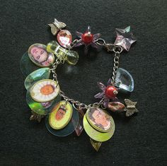 Frida Karlo bracelet Charm bangle bracelet by CeltsmithsAttic on Etsy, $25.00