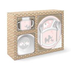 Sales Producers Inc. - Lady Jayne -  5 piece melamine feeding set includes divided plate,  bowl, two handle sippy cup and lid,  fork and spoon in a printed corrugated gif t box.    BPA free
