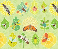 Insects, leaves, and flowers fabric.