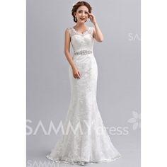 $86.01 Charming V-Neck Rhinestone Lace Hem Sweep Train Bridal Wedding Dress