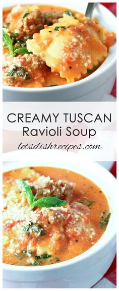 Five Approaches To Economize Transforming Your Kitchen Area Creamy Tuscan Ravioli Soup Recipe: A Creamy Tomato Based Broth Is Loaded With Cheesy Ravioli, Fresh Spinach And Italian Sausage In This Hearty, Crowd-Pleasing Soup The Whole Family Will Love. Italian Soup Recipes, Best Soup Recipes, Healthy Recipes, Creamy Soup Recipes, Italian Sausage Ravioli Recipe, Recipes With Ravioli, Ravioli Dinner Ideas, Soup Crockpot Recipes, Instapot Soup Recipes