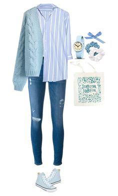 """Daily Look 13"" by jsonglee ❤ liked on Polyvore featuring Frame, Vetements, Chicwish, Converse, Newgate, L. Erickson, stripe and daily"