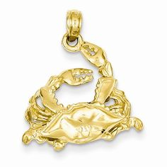14k Yellow Gold Polished Blue Crab Pendant