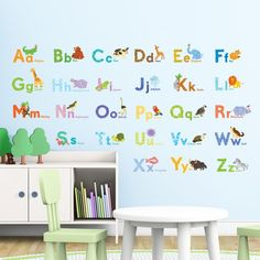 Watercolour Animal Alphabet Wall Stickers