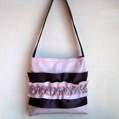 vinyl purse - tote with purple ruffles and more purple ruffles