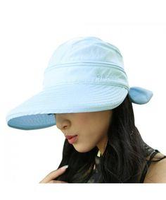 534083f8 Women Wide Brim Visor Anti-UV Sun Protection 2 in 1 Summer Sun Hat Cap Blue  C812HEW0F2V