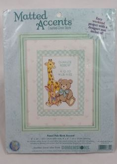 New Cross Stitch Kit PASTEL PALS BIRTH RECORD Retired 2000 Giraffe Teddy Bear #Dimensions