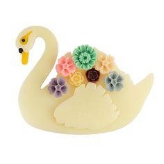 Swan Brooch - Cream by @howkapow