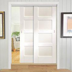 Thruslide Shaker - 2 Sliding Doors and Frame Kit - White Primed - Lifestyle Image Shaker Style Doors, Shaker Doors, Track Door, Shaker Furniture, Fire Doors, Architrave, Mdf Frame, Closet Doors, Wardrobe Doors