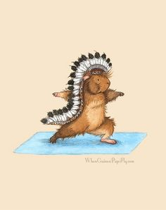 Warrior Pose  Yoguineas Guinea Pig Yoga Art by WhenGuineaPigsFly,