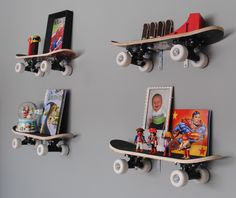 Outstanding Boys Rooms Wall Decors With Skateboard Shelving Unit Ideas Inspiration Furniture For Photos Frame Display And Floating Bookshelves Idea Hang On Grey Wall Painted As Well As Furniture For Boys Room  And Girls Room Rugs , Good And Cool Design Boys Rooms : Bedroom