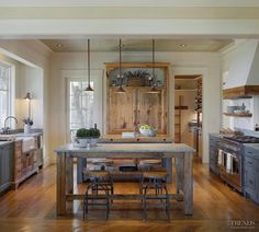 Pale blue country kitchens