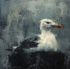 Gull in the mist ,oil on panel by Lindsey Kustusch