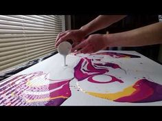 Fluid Acrylic Pouring Large Scale. - YouTube