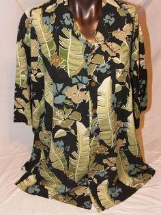 Three Palm Hawaiian Mens Short Sleeve Shirt Size L Floral Hibiscus Silk Green  #ThreePalm #Hawaiian
