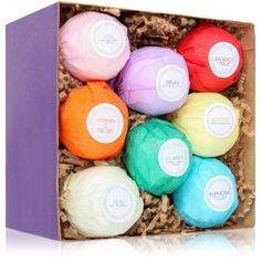 Natural Essential Oils Gift Pack of 8 Fizzy Bath Bombs - GoGetGlam  - 1