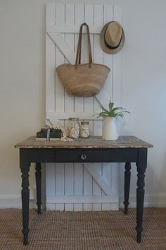Vintage table makeover with cool gate backdrop.