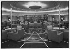 SS America - Smoking Room, looking toward bar (1940)