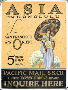 Asia via Honolulu from San Francisco to the Orient -- 5 great sister ships (Woman with an umbrella) a by peacay, via Flickr