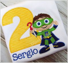 Embroidered Super Why Birthday Shirt for Boys or Girls - Personalization Available
