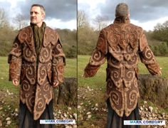 LRP - LARP 'Dark Crystal UrRu-inspired' quilted coat in raw silk and leather. Designed and made by Mark Cordory Creations with additional fabric work by N. Askey. www.markcordory.com