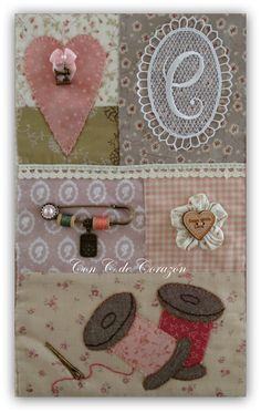 Con C de Corazón ♥: Panel de Costura Sulky terminado Applique Patterns, Embroidery Applique, Country Quilts, 3d Quilts, Sewing Rooms, Love Sewing, Mug Rugs, Book Making, Pin Cushions